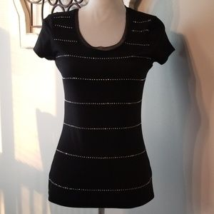 WHBM Black Short Sleeve Stoned Tee